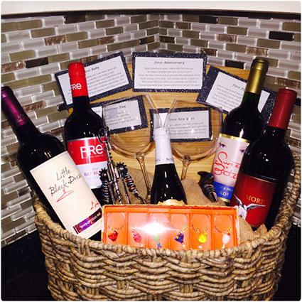 custom bridal shower wine poem basket